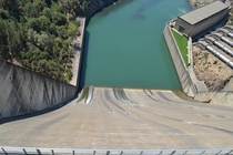 Looking down the spillway of Shasta Dam