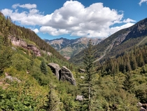Looking down the valley from Bear Creek Falls near Telluride CO