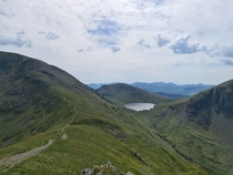 Looking down to Grisedale Tarn from St Sunday Crag The English Lake District