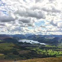 Looking from Skidaw towards Derwent Water and the Lakeland Fells England  x