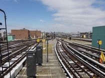 Looking north from Coney Island-Stillwell Av towards the Coney Island Yard