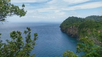 Looking off the side of a cliff on Ko Rok island in Thailand