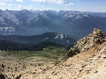 Looking out at the Great Western Divide from Alta Peak in Sequoia National Park