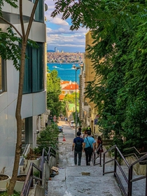 Looking out from a stair-alley over the Bosphorus in stanbul