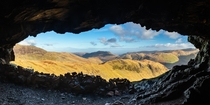 Looking out from the Priest Hole in the English Lake District