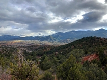 Looking toward the Rockies from Garden of the Gods in Colorado Springs The Sun just barely poking through a cloudy sky OC x