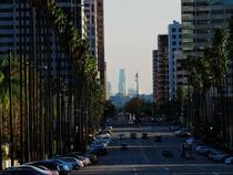 Looking towards downtown Los Angeles from the northern end of Brand Blvd in Glendale