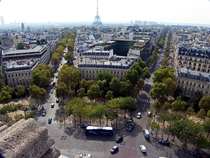 Looking towards the Eiffel Tower from the Arc de Triomphe
