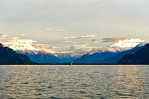 Looking towards the French Alps during sunset  Lake Geneva in Vivey Switzerland