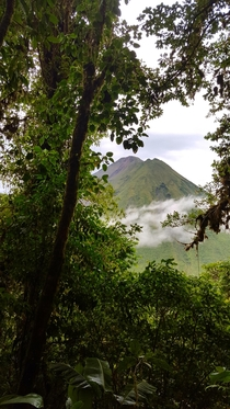 Looking up at Arenal through the rainforest and fog in Costa Rica