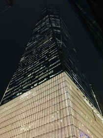 Looking up at the Freedom Tower on a cold January night in Manhattans financial district