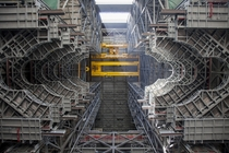Looking up at the heavy-lift crane in the High Bay  of the Vehicle Assembly Building at NASAs Kennedy Space Center