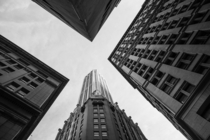 Looking up in the Financial District- New York City