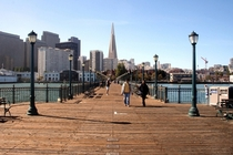 Looking up Pier  towards the Transamerica Pyramid and downtown San Francisco