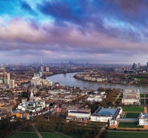 Looking up the River Thames from Greenwich London
