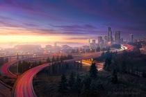 Looking west through the fog toward downtown Seattle  photo by Danny Seidman