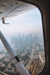Los Angeles aerial in haze