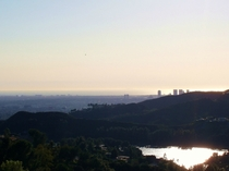 Los Angeles and the Pacific from the Hollywood sign on an exceptionally clear day