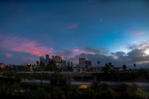 Los Angeles at sunset featuring the moon Stitched  photos to create this Resolution is low because of crop and compression IG tenounces_ OC x