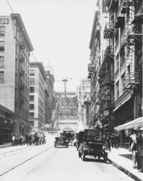 Los Angeles ca  view of the Angels Flight funicular looking west on Third Street toward the corner of Hill Street