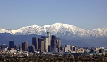 Los Angeles California framed by the snowy San Gabriel Mountains A slightly different view than the usual palm trees and beaches