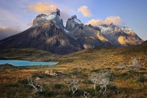Los Cuernos at sunset in Torres del Paine national park in windy Patagonia