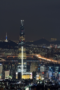Lotte World Tower and the night lights of Seoul South Korea