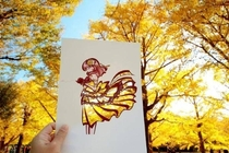 Love the yellow leaves beautiful paper-cut art