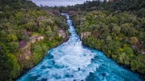 Lovely Blue Huka Falls in New Zealand