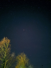 Lovely clear night yesterday so tried out the astrophotography life on my Pixel a Bright red spot is Mars