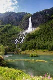 Lovely waterfall near the centre of Flm Norway  photo by M Molde