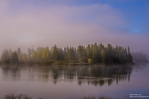 Low hanging mist at sunrise Oxbow Bend Tetons National Park Wyoming