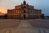 Low Winter Sunset at the Opera House in Dresden Germany