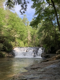 Lower Dicks Creek Falls Cleveland GA OC x - the water was chilly but had to get in one of the few joys of the recent times is getting to explore more off the beaten track areas Ive never gotten to prior to all this