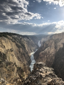 Lower falls of the Yellowstone River from Artist Point Yellowstone National Park WY