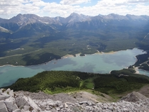 Lower Kananaskis Lake from Indefatigable trail Alberta Canada
