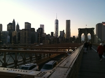 Lower Manhattan as seen from the Brooklyn Bridge