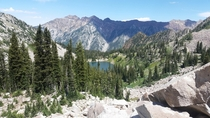 Lower Red Pine Lake in Little Cottonwood Canyon just outside of Snowbird Utah