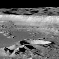Lunar Antoniadi crater wall ft tall imaged by sideways looking LRO