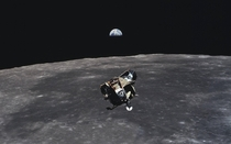 Lunar Earthrise with LEM wallpaper