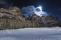 Lunar Eclipse Alta Badia Dolomites  Photo by Davide Arizzi xpost from rItalyPhotos