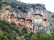Lycian rock-cut tombs of Dalyan Turkey Lycia an ancient Anatolian kingdom that lived next to the Hittites