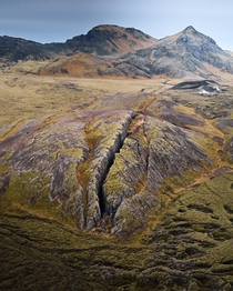 m deep walkable lava crack in Iceland  OC by bjarkijohannss
