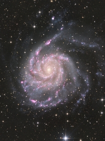 M Pinwheel galaxy in RGB with Hydrogen alpha enhanced