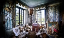 Macabre abandoned room in French chateau near Paris