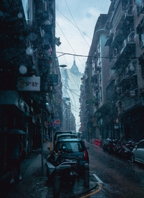 Macau during a heavy rainstorm -