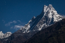 Machapuchare  m by Moonlight Central Nepal