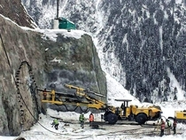 Machine getting ready to build Zojila Pass Tunnel in LadakhIndia