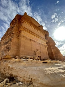 Madain Saleh Saudi Arabia You may assume that its some sort of dwelling but its actually a Tomb for the rich and powerful of that time The  steps at the top of the structure were the steps youd take to heaven in the afterlife