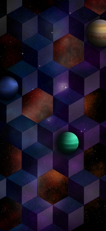 made a cool background for my phone featuring neptune jupiter and rando green planet